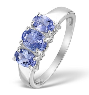 1.63 Carats  AA Tanzanite and 925 Sterling Silver Ring