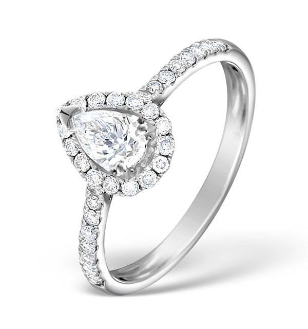 Halo Engagement Ring Ella 0.81ct Pear Shape Diamond 18K White Gold - image 1