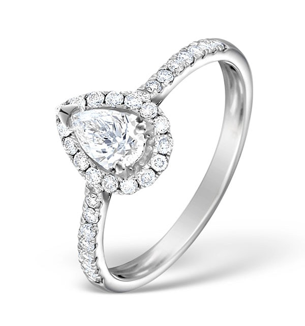Halo Engagement Ring Ella 0.81ct VS Pear Shape Diamond 18K White Gold - image 1