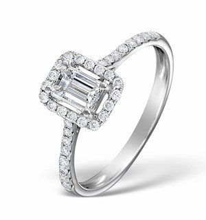 Halo Engagement Ring Ella 0.80ct SI Emerald Cut Diamonds 18KW Gold