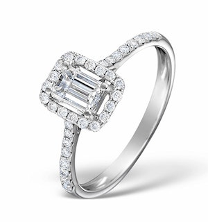Halo Engagement Ring Ella 0.80ct VS Emerald Cut Diamonds 18KW Gold