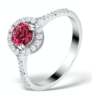 Pink Tourmaline 0.50CT and Diamond Halo 18K Gold Ring UT39