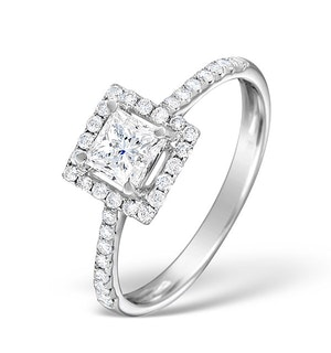 Halo Engagement Ring Ella 0.82ct G/Vs Princess Diamond 18K White Gold