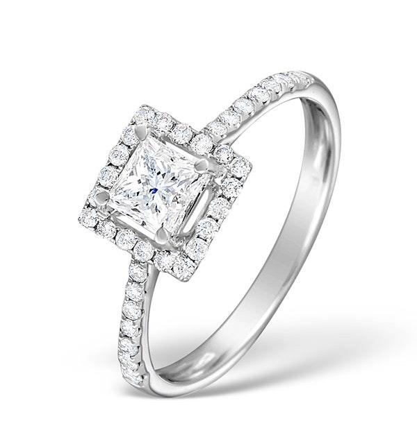 Halo Engagement Ring Ella 18K Gold Diamond Princess Cut 0.82ct SI - image 1