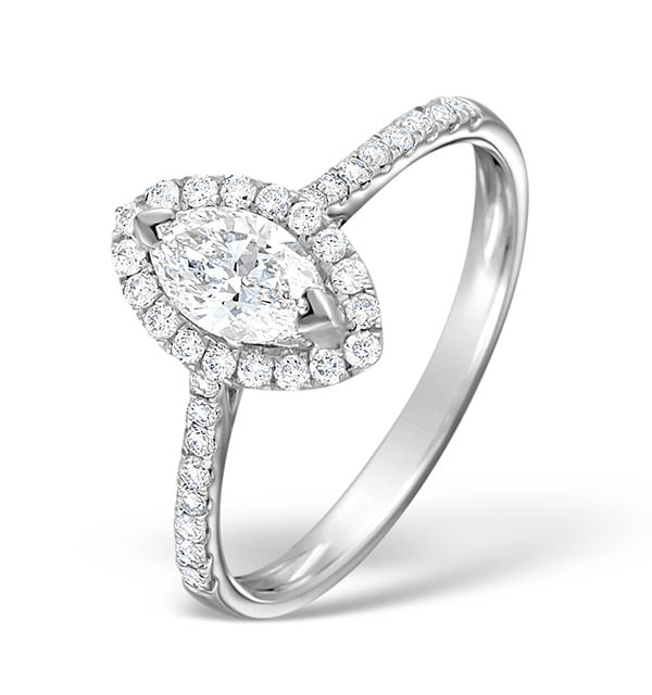 Halo Engagement Ring Ella 0.84ct H/Si Marquise Diamond 18K White Gold - image 1