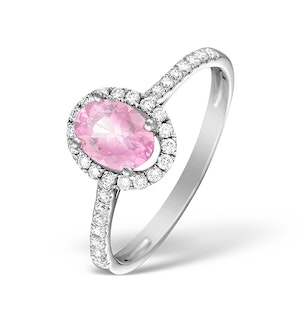 18K White Gold Diamond and Pink Sapphire Oval Ring 0.30ct