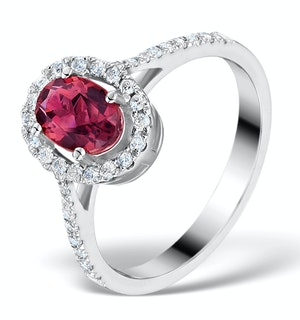 Pink Tourmaline 0.50CT and Diamond Halo 18K White Gold Ring UT42