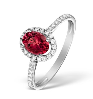 Ruby and Diamond Halo Ring Set in 18K White Gold