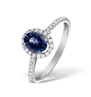 Blue Sapphire and Diamond Halo Ring Set in 18K White Gold
