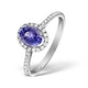 Tanzanite 7 x 5mm And 0.30ct Diamond 18K White Gold Ring - image 1