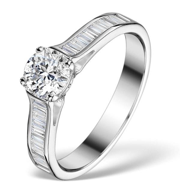 Sidestone Engagement Ring Coco 0.80ct G/SI2 Diamonds 18K White Gold - image 1