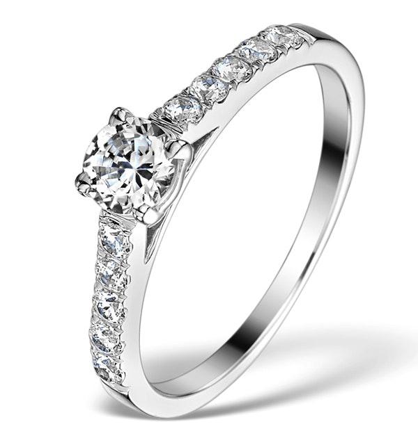 Sidestone Engagement Ring Adelle 0.85ct E/VS1 Diamonds 18K White Gold - image 1