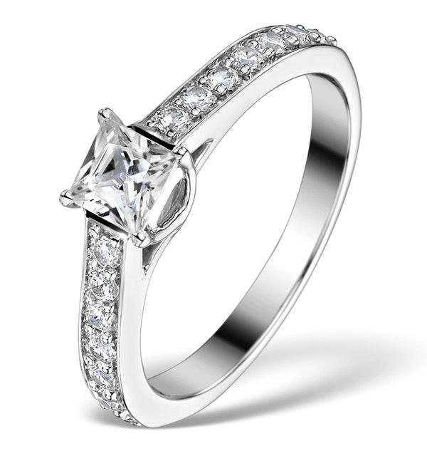 Sidestone Engagement Ring Seraphina 0.95ct Vs2 Princess Diamond 18KW - image 1