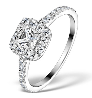 Halo Engagement Ring Aria 1.30ct VS1 Princess Diamond 18K White Gold