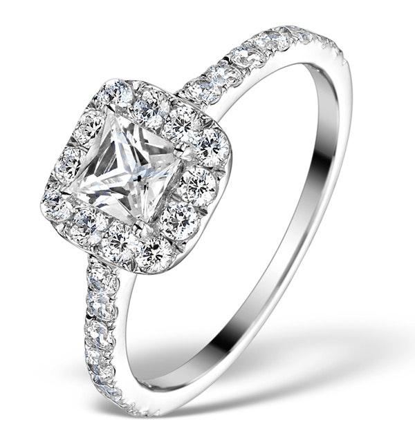 Halo Engagement Ring Aria 1.30ct SI2 Princess Diamond 18K White Gold - image 1