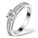 Sidestone Engagement Ring Eleri 0.90ct VS1 Princess Diamond 18KW Gold - image 1