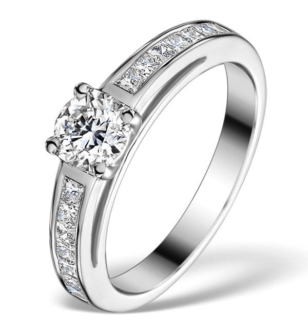 Sidestone Engagement Ring Eleri 0.90ct VS2 Princess Diamond 18KW Gold - image 1
