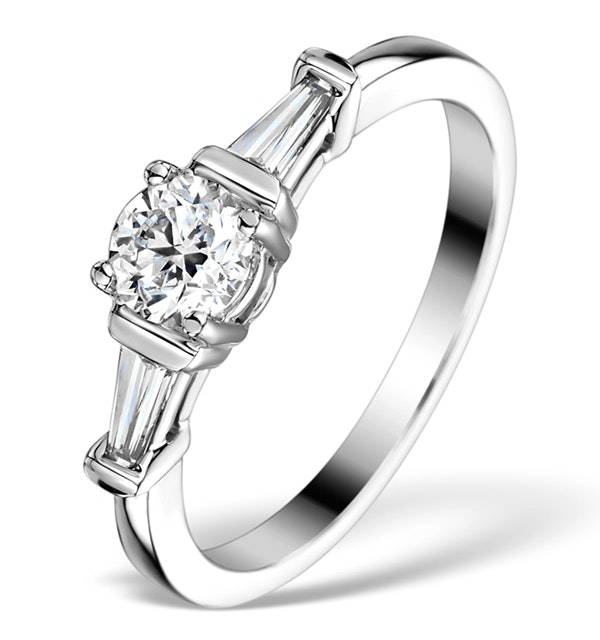Sidestone Engagement Ring Vana 0.80ct VS1 Baguette Diamond 18KW Gold - image 1