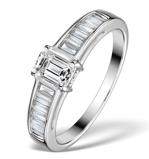 Sidestone Engagement Ring Elina 0.90ct SI Emerald Cut Diamonds 18KW