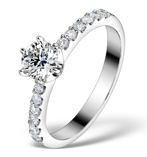 Sidestone Engagement Ring Talia 0.85ct G/SI1 Diamonds 18k White Gold - image 1