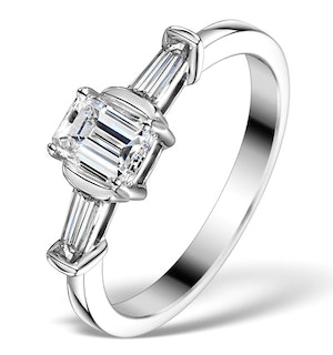 Sidestone Engagement Ring Galina 0.80ct Emerald Cut Diamond 18K Gold