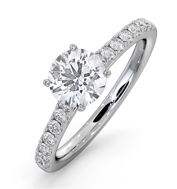 Natalia GIA Diamond Engagement Side Stone Ring Platinum 1.40CT G/VS1 - image 1