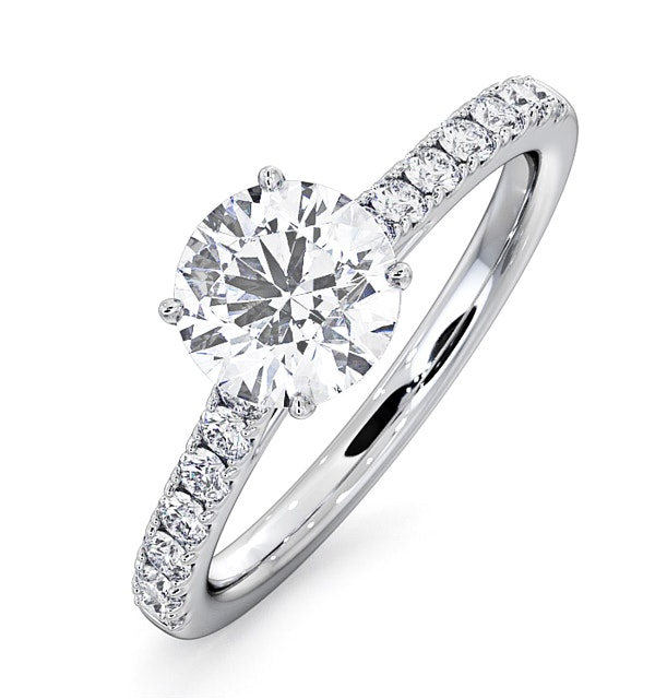 Natalia GIA Diamond Engagement Side Stone Ring Platinum 0.91CT G/SI2 - image 1