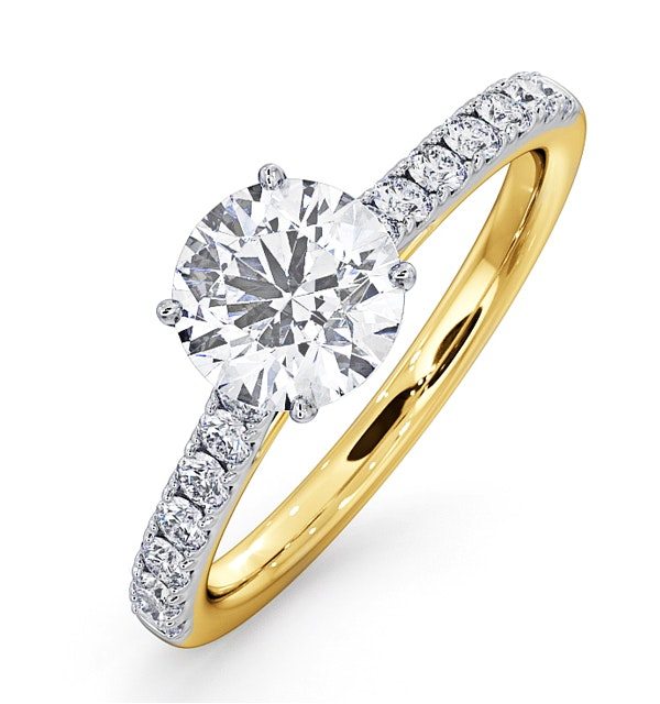 Natalia GIA Diamond Engagement Side Stone Ring 18K Gold 1.50CT G/SI2 - image 1