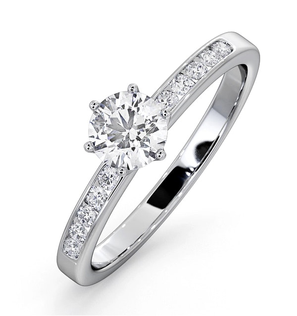 Charlotte GIA Diamond Engagement Side Stone Ring Platinum 0.65CT G/SI2 - image 1