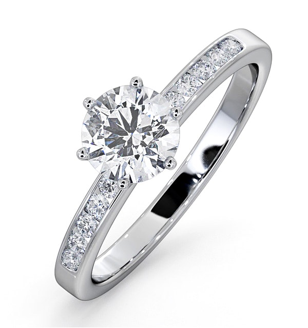 Charlotte GIA Diamond Engagement Side Stone Ring 18KW Gold 0.88CT VS1 - image 1