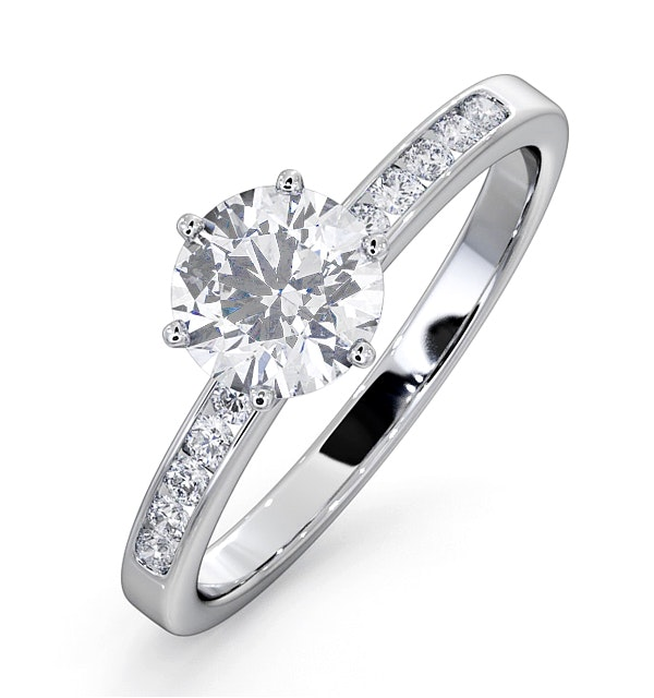 Charlotte GIA Diamond Engagement Side Stone Ring 18KW Gold 1.10CT SI2 - image 1