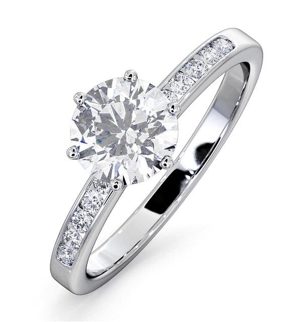 Charlotte GIA Diamond Engagement Side Stone Ring Platinum 1.20CT G/SI1 - image 1