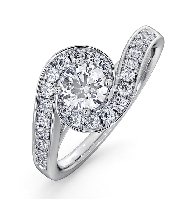 Anais GIA Diamond Engagement Halo Ring 18KW Gold 0.82CT G/SI1 - image 1