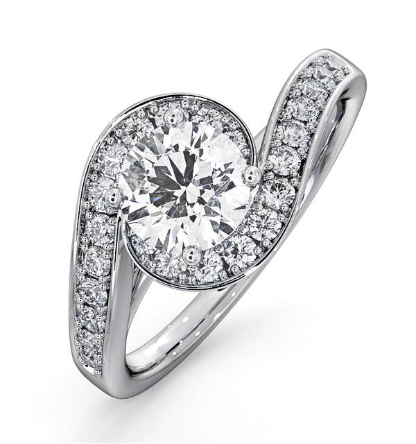 Anais GIA Diamond Engagement Halo Ring 18KW Gold 1.28CT G/VS1 - image 1