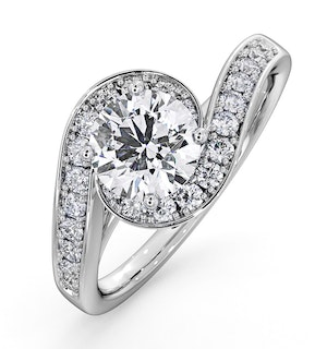 Anais GIA Diamond Engagement Halo Ring 18KW Gold 1.38CT G/VS2