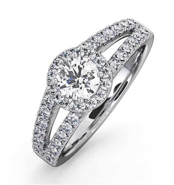 Carly GIA Diamond Engagement Side Stone Ring 18KW Gold 0.98CT G/SI2 - image 1