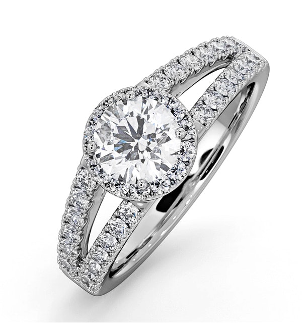 Carly GIA Diamond Engagement Side Stone Ring Platinum 1.23CT G/SI2 - image 1