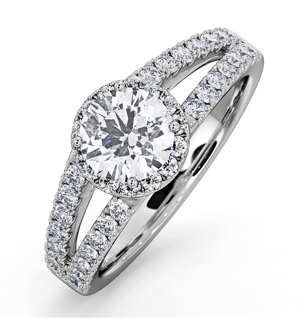 Carly GIA Diamond Engagement Side Stone Ring 18KW Gold 1.48CT G/VS2 - image 1