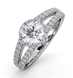 Carly GIA Diamond Engagement Side Stone Ring 18KW Gold 1.58CT G/VS2