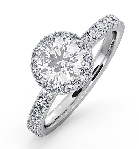 Alessandra GIA Diamond Engagement Ring Platinum 1.60CT G/SI2 - image 1