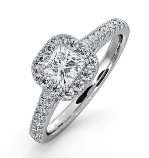 Roxy GIA Diamond Engagement Side Stone Ring in 18KW Gold 0.98CT G/SI1