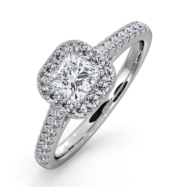 Roxy GIA Diamond Engagement Side Stone Ring in 18KW Gold 0.98CT G/SI2 - image 1