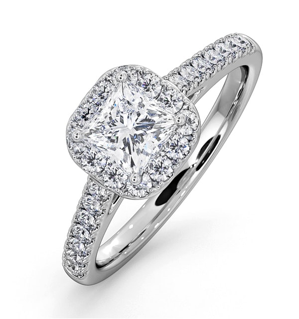 Roxy GIA Diamond Engagement Side Stone Ring in Platinum 1.22CT G/SI1 - image 1