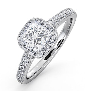 Roxy GIA Diamond Engagement Side Stone Ring in 18KW Gold 1.48CT G/SI2