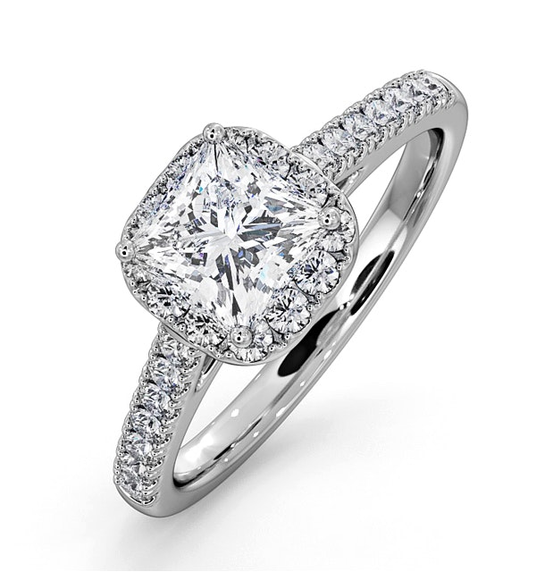 Roxy GIA Diamond Engagement Side Stone Ring Platinum 1.58CT G/SI1 - image 1