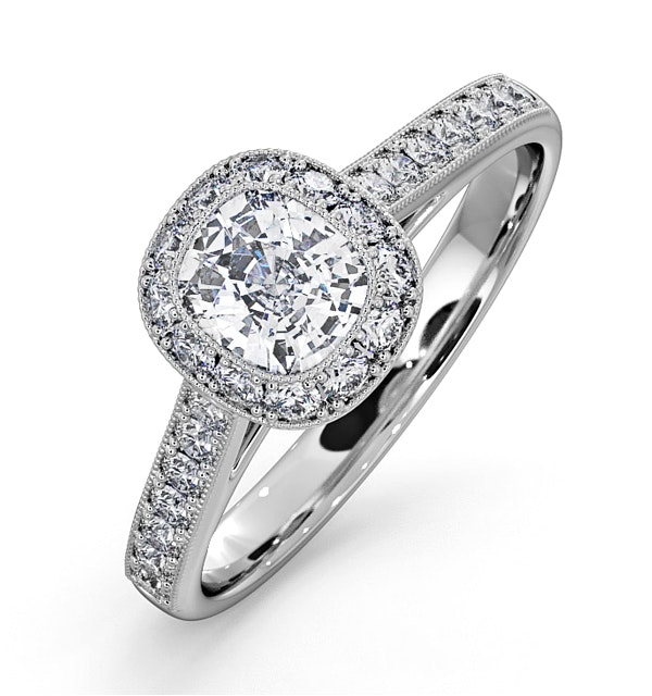 Danielle GIA Diamond Engagement Side Stone Ring in 18KW Gold 1CT G/SI2 - image 1