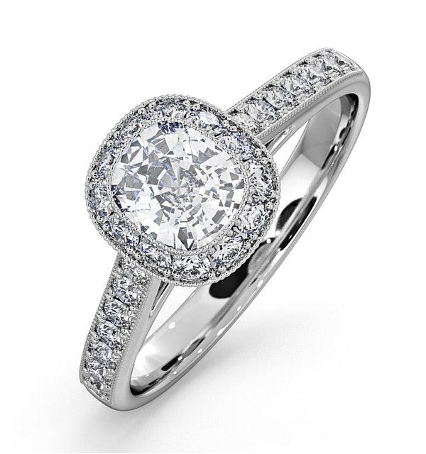 Danielle GIA Diamond Engagement Side Stone Ring Platinum 1.25CT G/SI2 - image 1