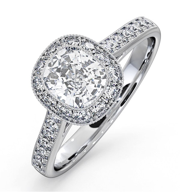 Danielle GIA Diamond Engagement Side Stone Ring Platinum 1.50CT G/SI2 - image 1