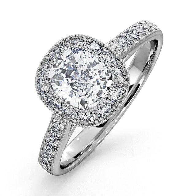 Danielle Lab Diamond Engagement Side Stone Ring Platinum 1.60CT SI1 - image 1