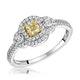 Pia Yellow Diamond Double Halo Engagement Ring 0.59ct 18K White Gold - image 1